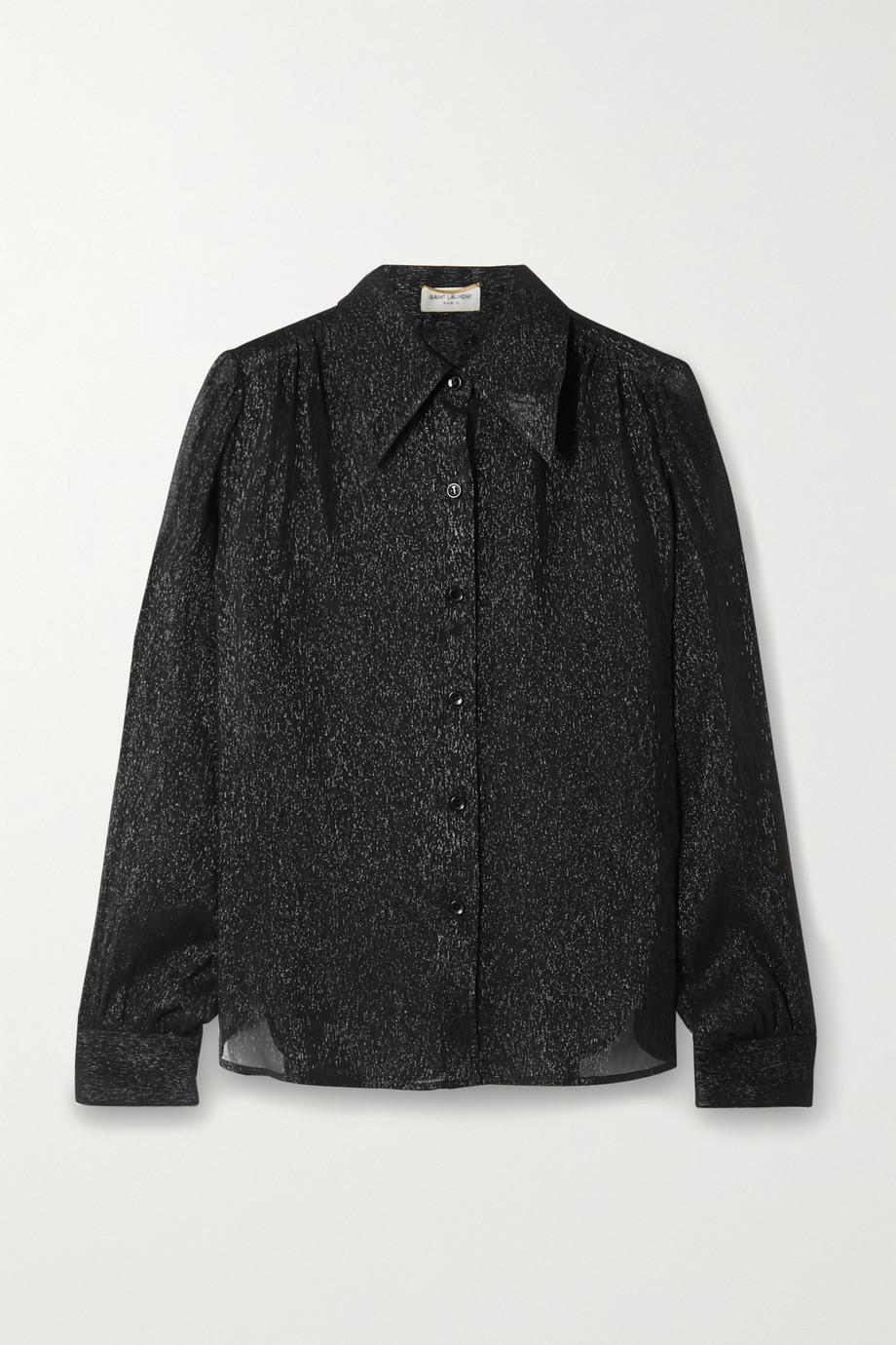 SAINT LAURENT Metallic silk and Lurex-blend crepon shirt