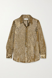 SAINT LAURENT Metallic silk and Lurex-blend blouse