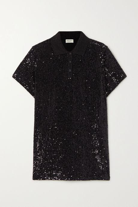 Black Sequined cotton-blend jersey polo shirt   SAINT LAURENT 9nOMcj