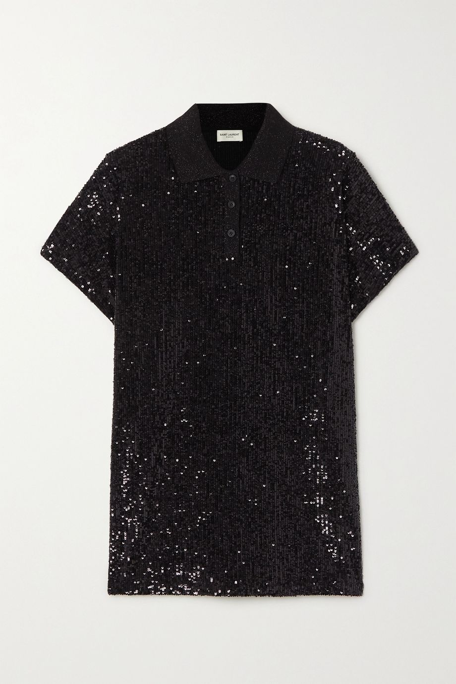 SAINT LAURENT Sequined cotton-blend jersey polo shirt
