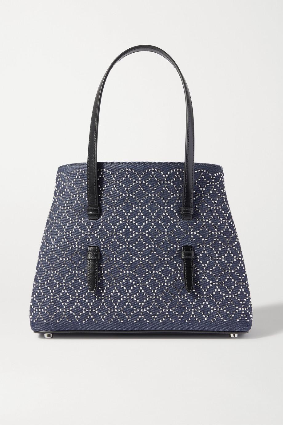 Alaïa Mina medium leather-trimmed studded denim tote