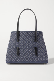 Alaïa Mina medium leather-trimmed studded denim tote