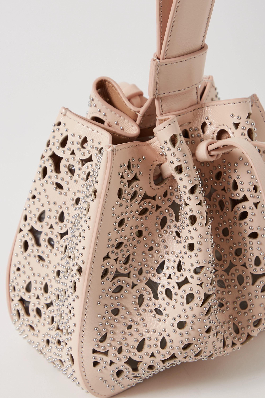 Alaïa Rose Marie mini studded laser-cut leather bucket bag