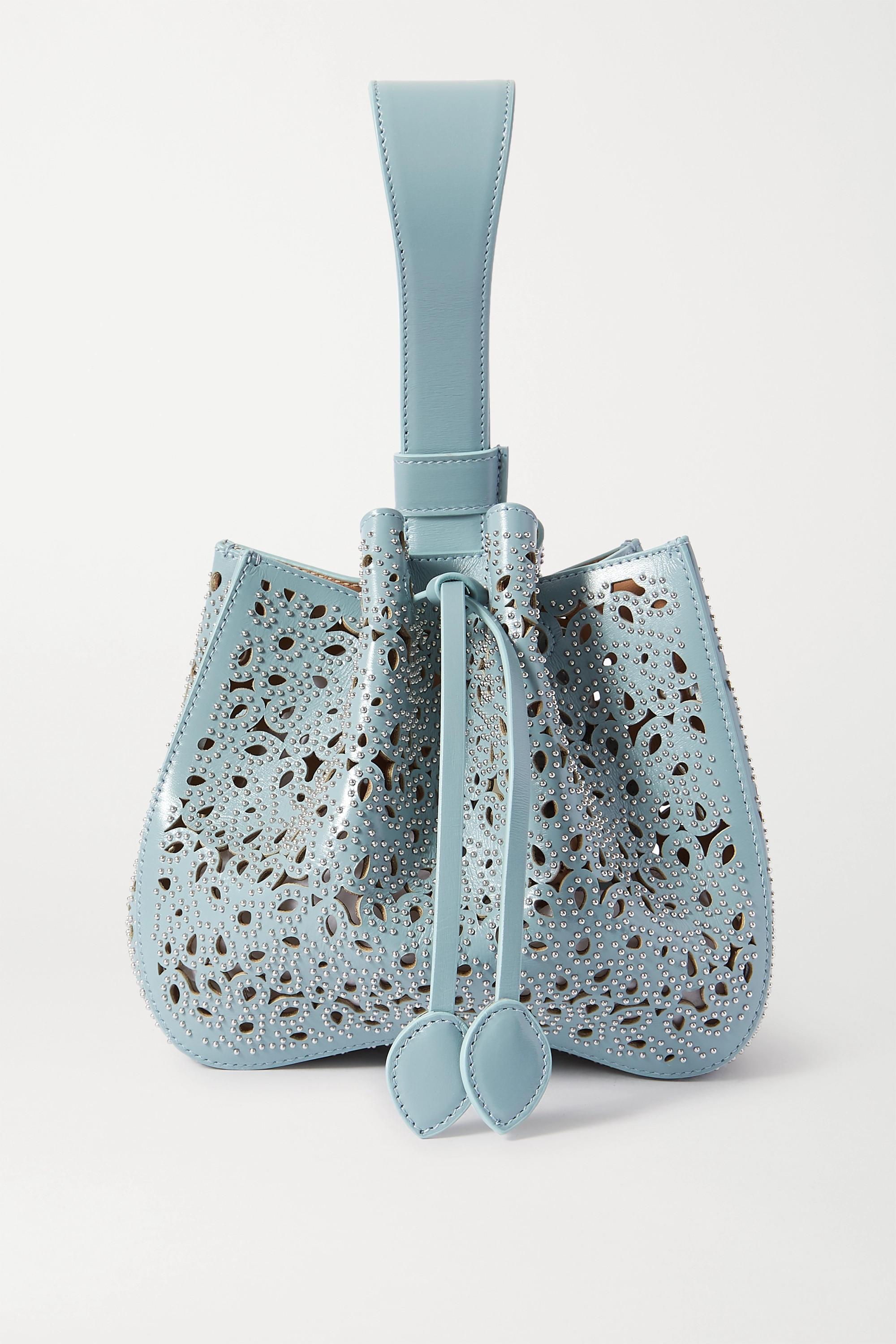 Alaïa Rose Marie small laser-cut leather bucket bag