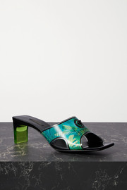 Versace Logo-embellished holographic printed PVC mules