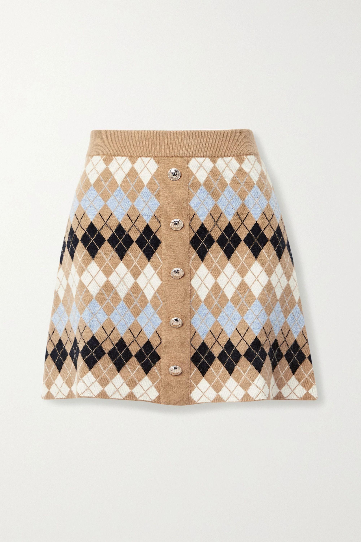 Maje Button-embellished argyle wool-blend mini skirt