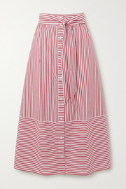 Maje Striped cotton-poplin midi skirt