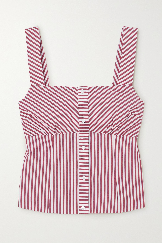 Maje Striped cotton-poplin top