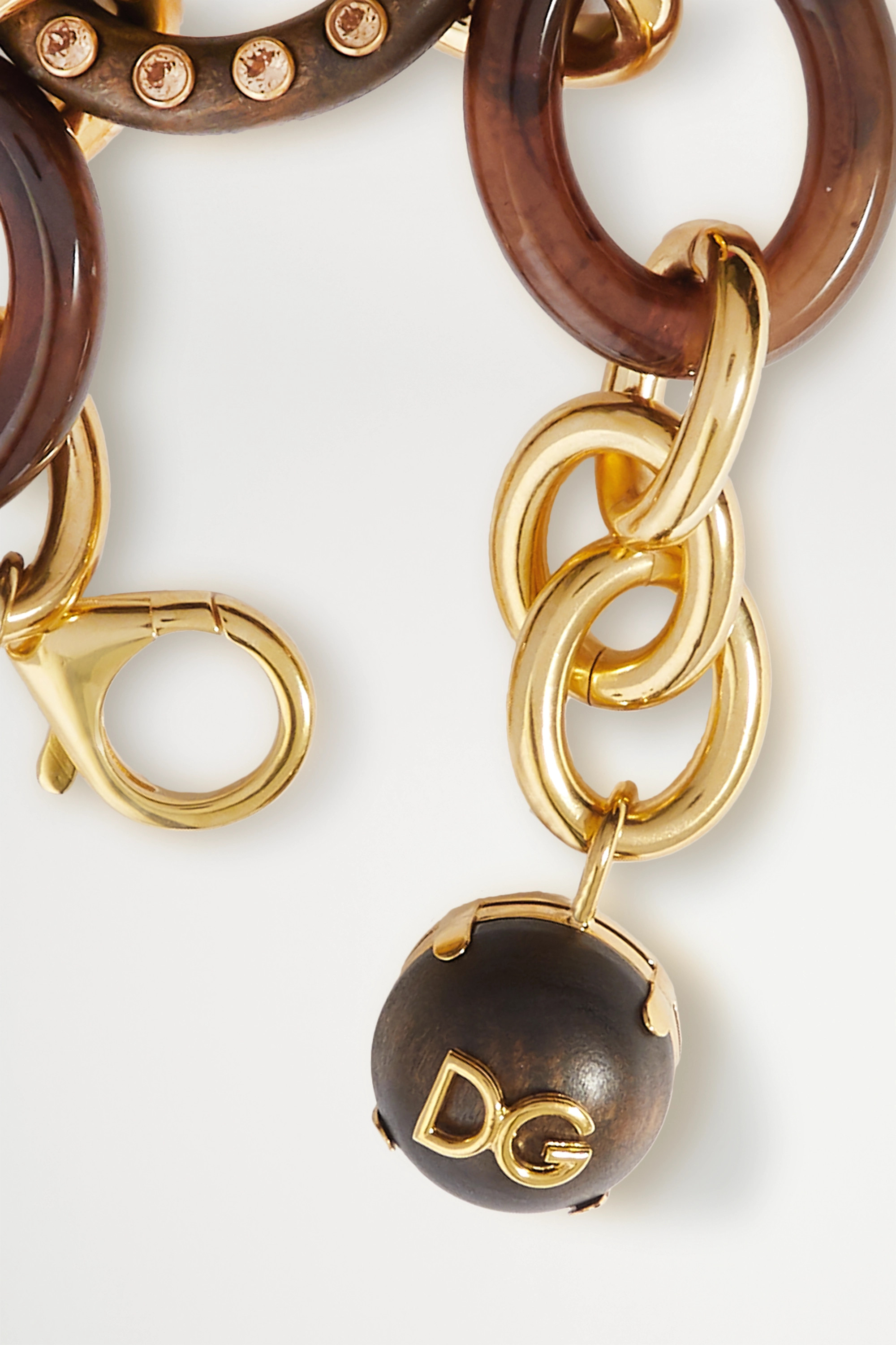 Dolce & Gabbana Gold-tone, resin, wood and crystal bracelet