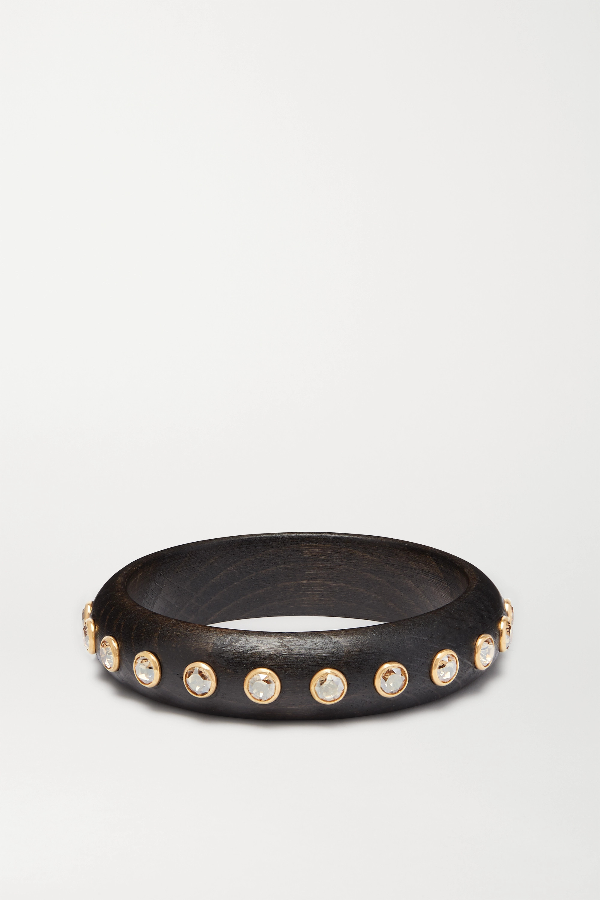 Dolce & Gabbana Gold-tone, wood and crystal bangle