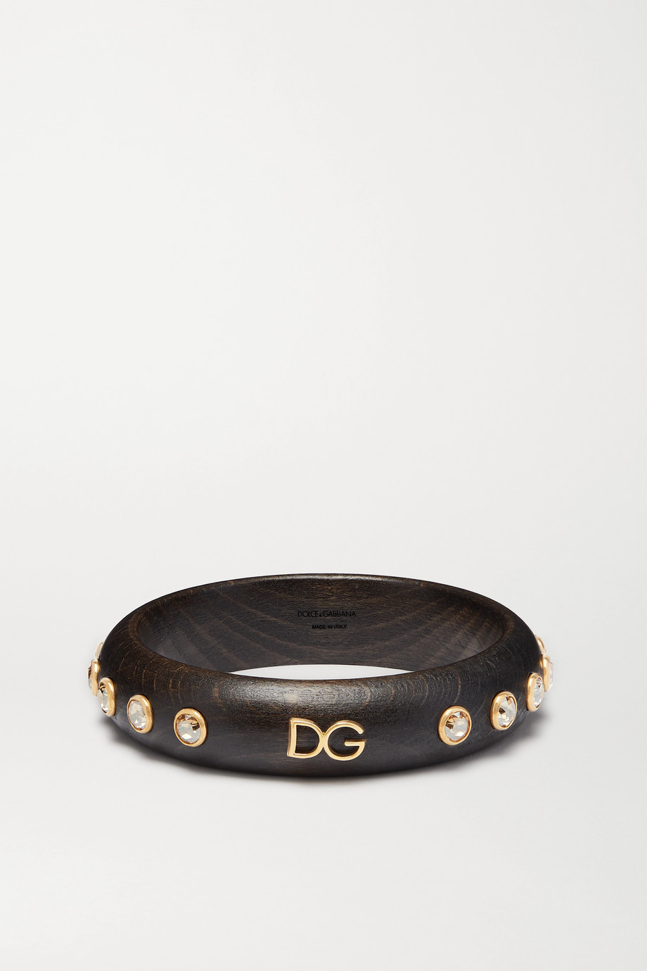 Dolce & Gabbana Gold-tone, wood and crystal bangle
