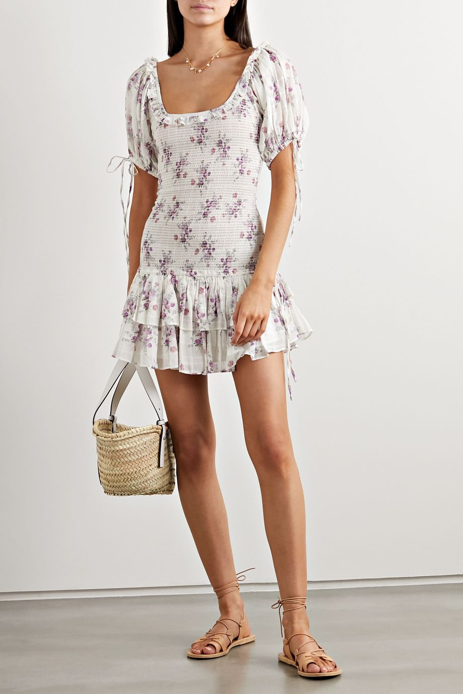 LoveShackFancy + AERIN Violet floral-print shirred cotton-voile mini dress
