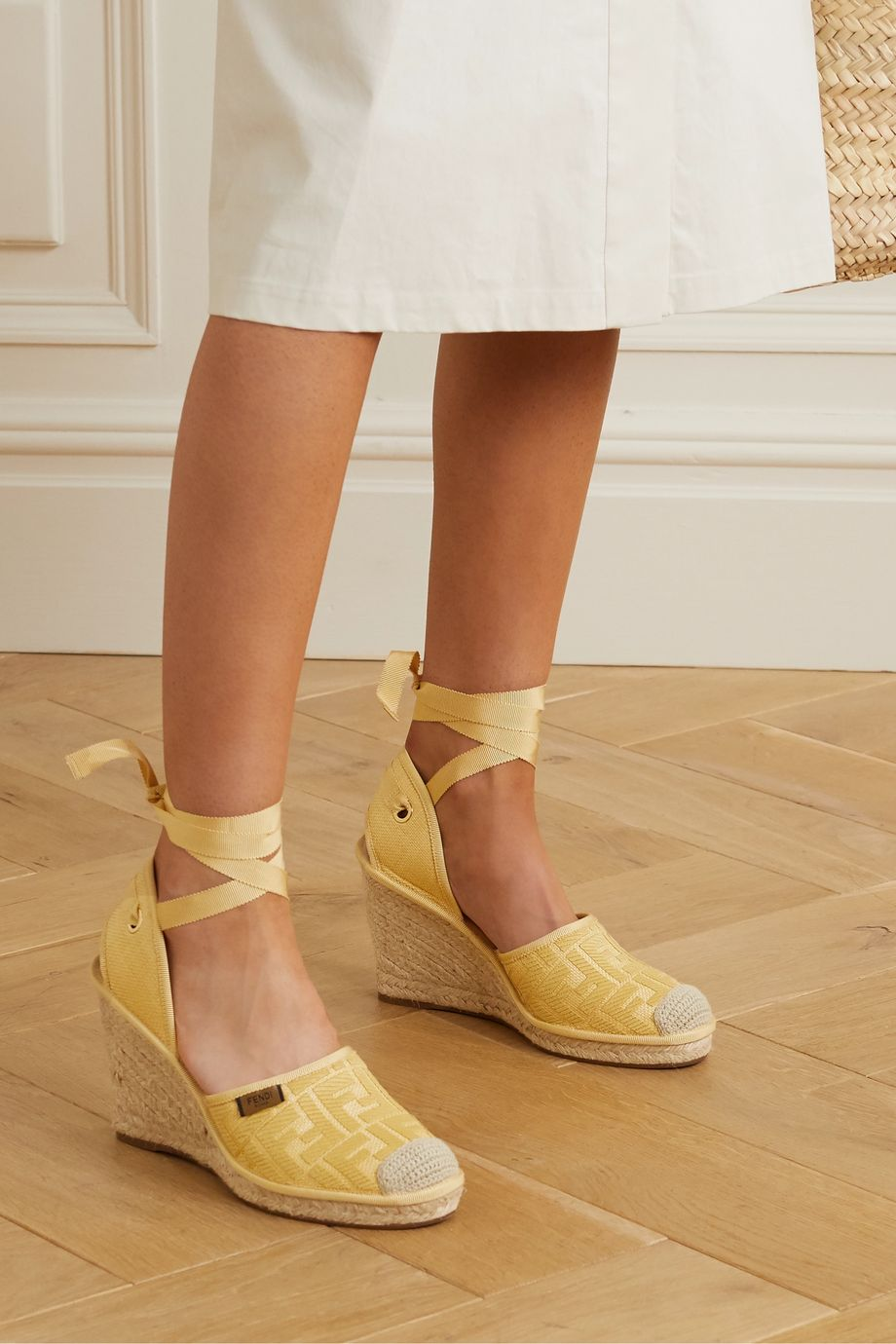 Fendi Logo-jacquard canvas wedge espadrilles