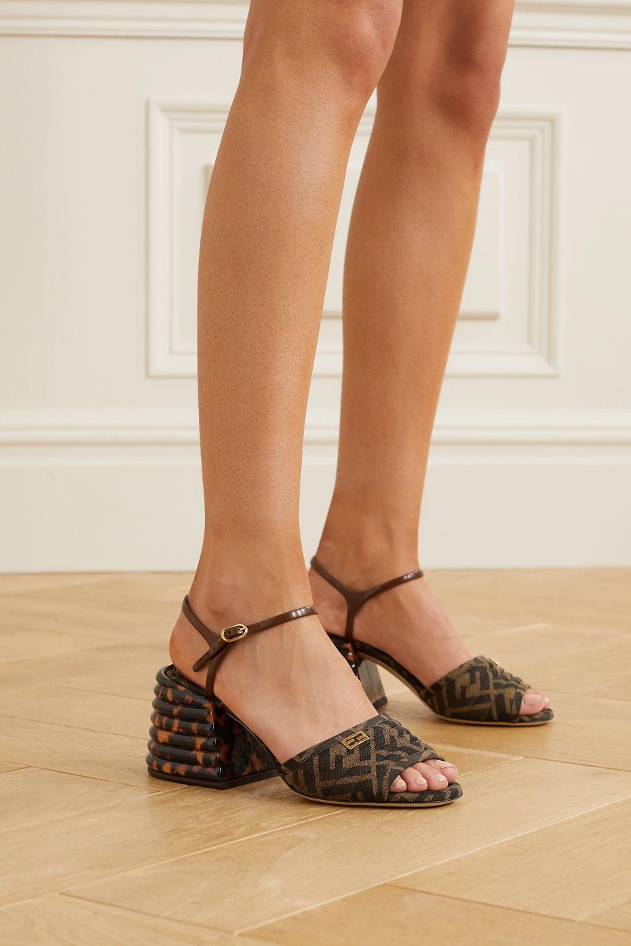 Fendi Logo-embellished quilted canvas-jacquard sandals