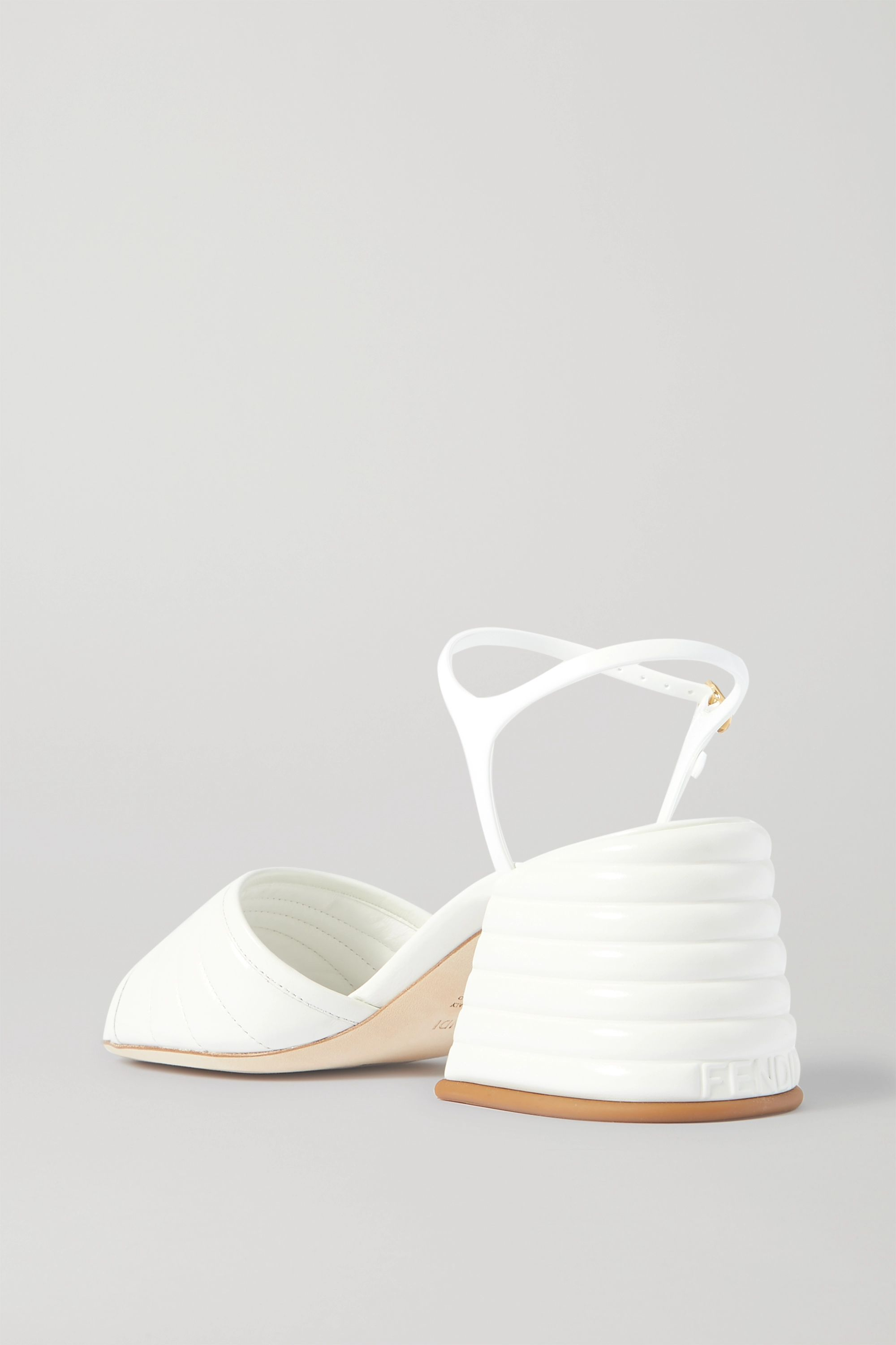 Fendi Logo-embellished quilted patent-leather sandals