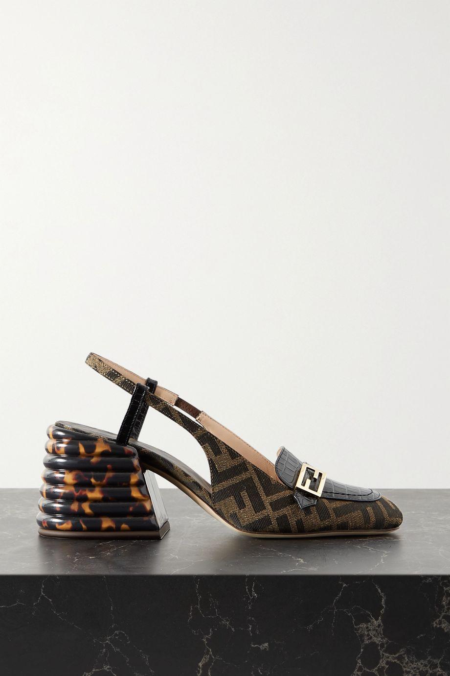 Fendi Logo-embellished croc-effect leather and canvas-jacquard slingback pumps