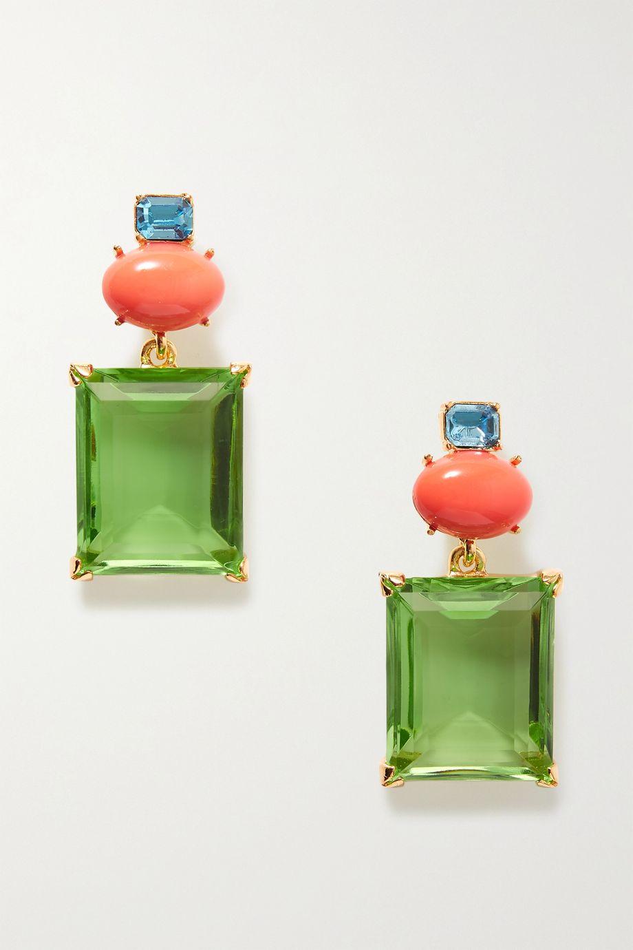 Kenneth Jay Lane + Brandon Maxwell gold-plated multi-stone earrings