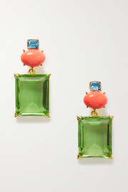 Kenneth Jay Lane + Brandon Maxwell gold-plated multi-stone earrings