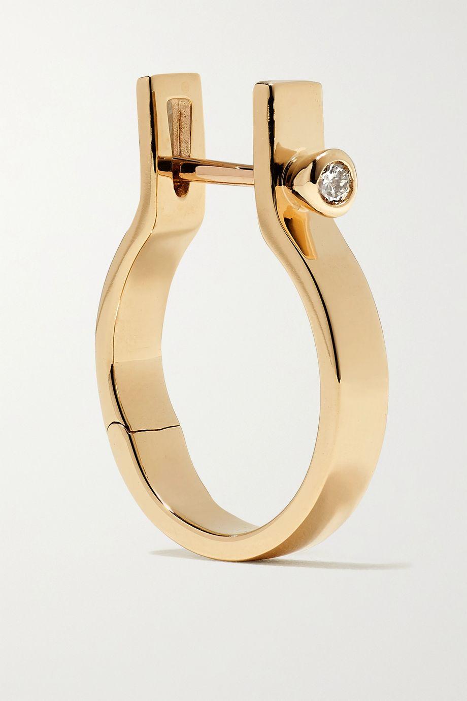 Hirotaka Indústria 10-karat gold diamond hoop earring
