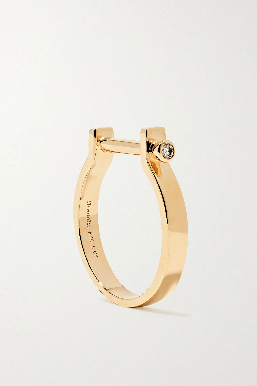Hirotaka Indústria Ring aus 10 Karat Gold mit Diamanten