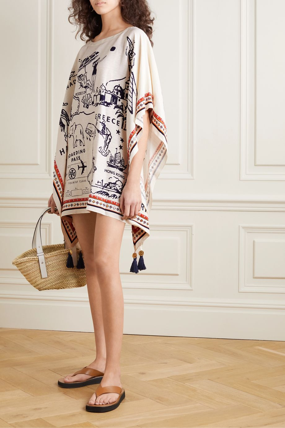 Tory Burch Embellished printed silk and linen-blend kaftan