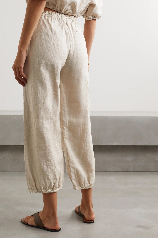Suzie Kondi Safari cropped linen tapered pants