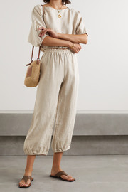 Suzie Kondi Safari cropped linen tapered pants