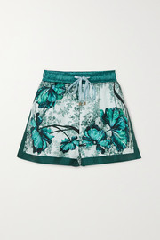 Glauco floral-print silk-twill shorts