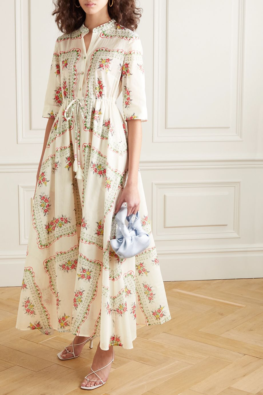 Tory Burch Maxi-Hemdblusenkleid aus Baumwollpopeline mit Blumenprint