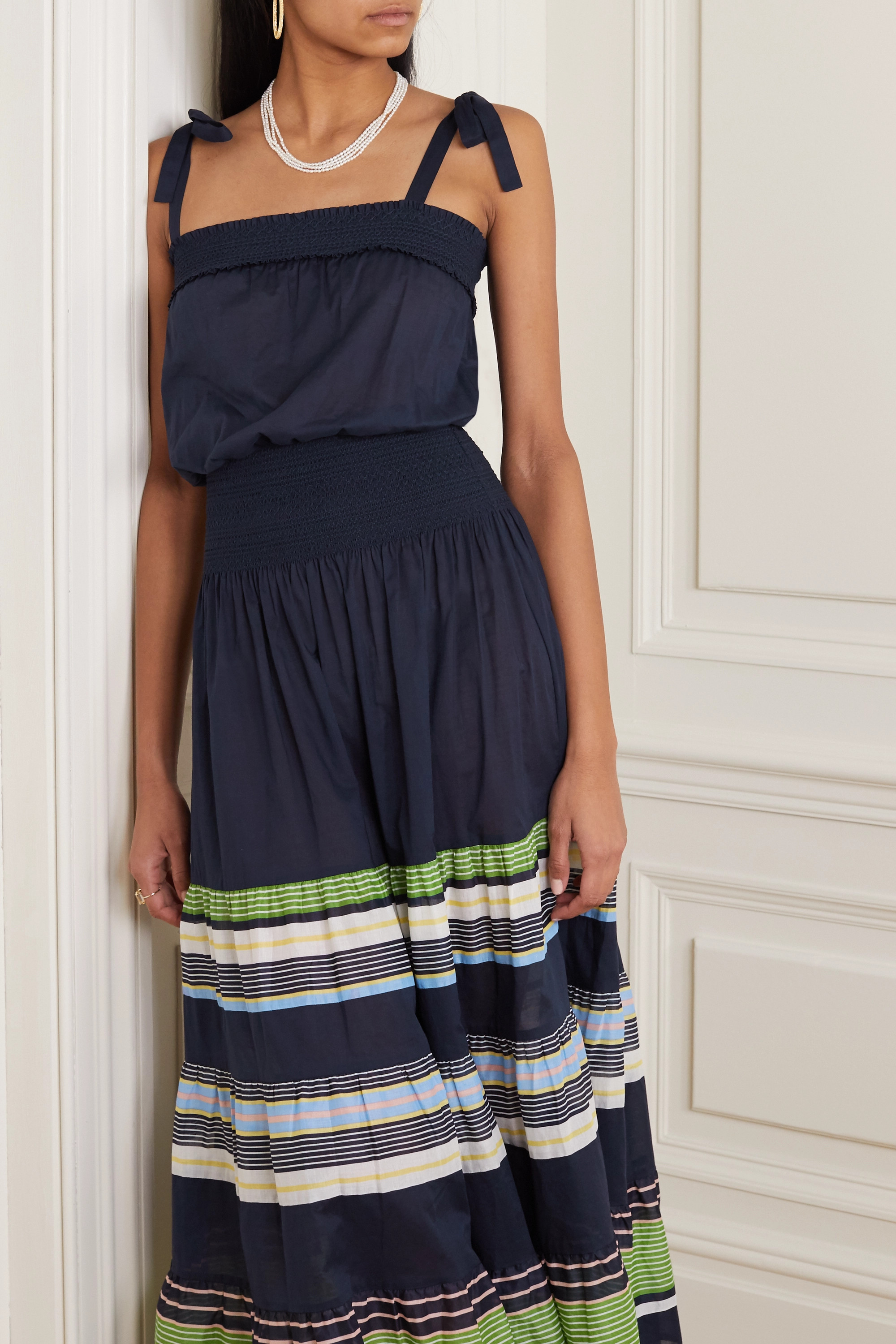 Tory Burch Tie-detailed smocked striped cotton-voile dress