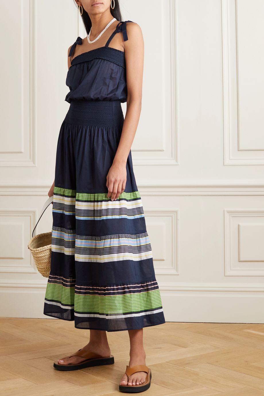 Tory Burch Kleid aus Baumwoll-Voile mit Streifen und Raffungen zum Binden