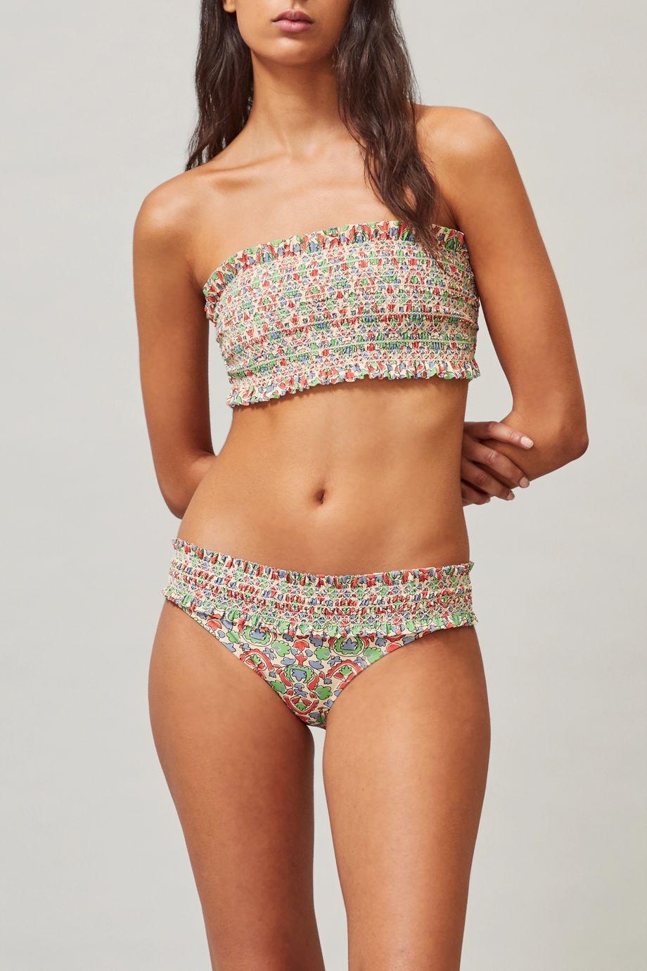 Tory Burch Costa Bandeau-Bikini-Oberteil mit Print und Smokarbeit