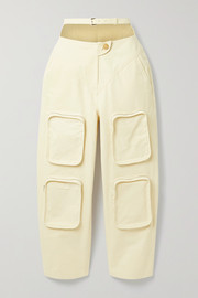 Belted cutout cotton-canvas tapered pants