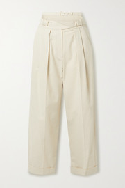 Pinstriped pleated cutout cotton-blend tapered pants