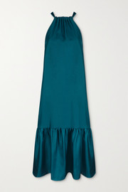 ASCENO Ibiza tiered silk-satin halterneck maxi dress