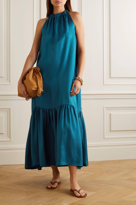 ASCENO Ibiza tiered silk-satin halterneck maxi dress