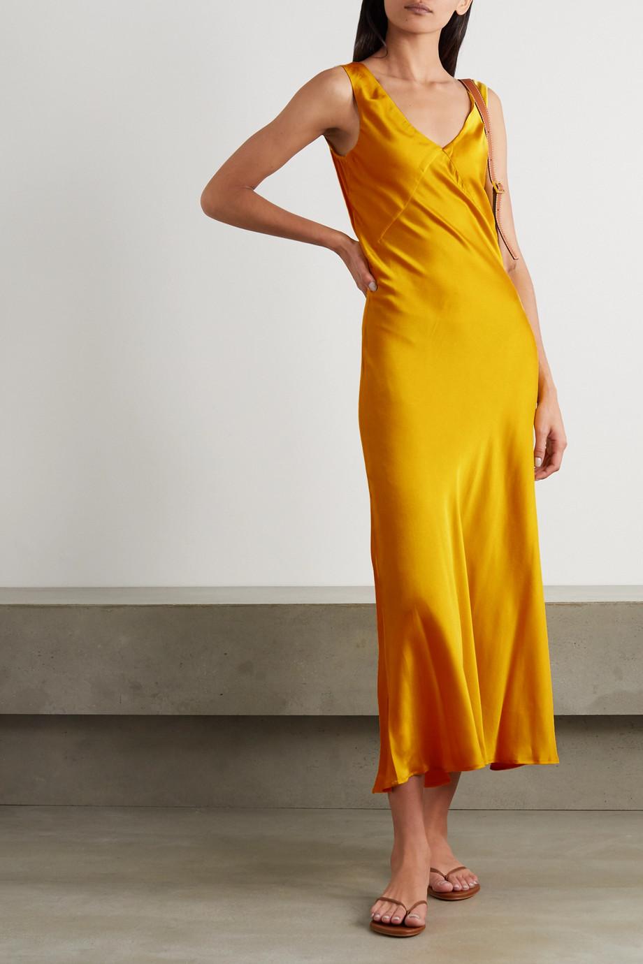 ASCENO Bordeaux silk-satin maxi dress