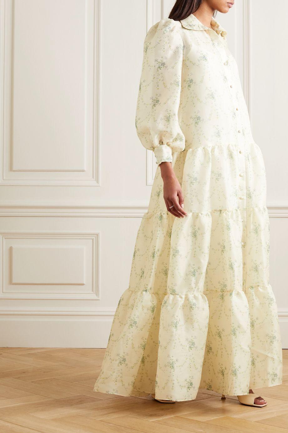 Brock Collection Tiered floral-print silk-organza maxi dress