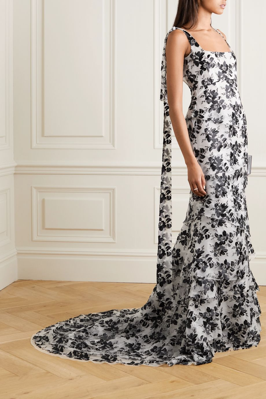 Brock Collection Tiered embroidered tulle gown