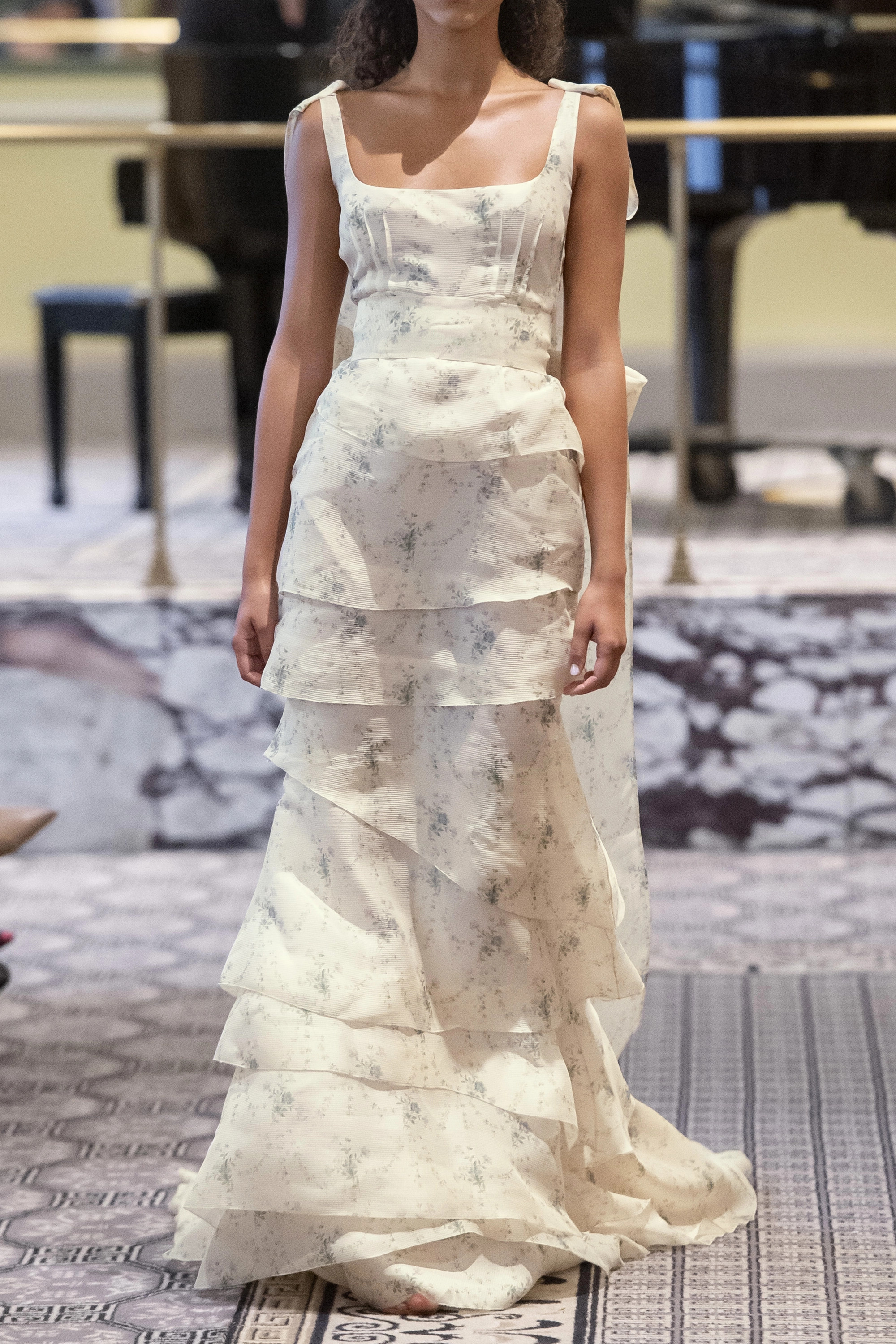 Brock Collection Tiered floral-print silk-organza gown