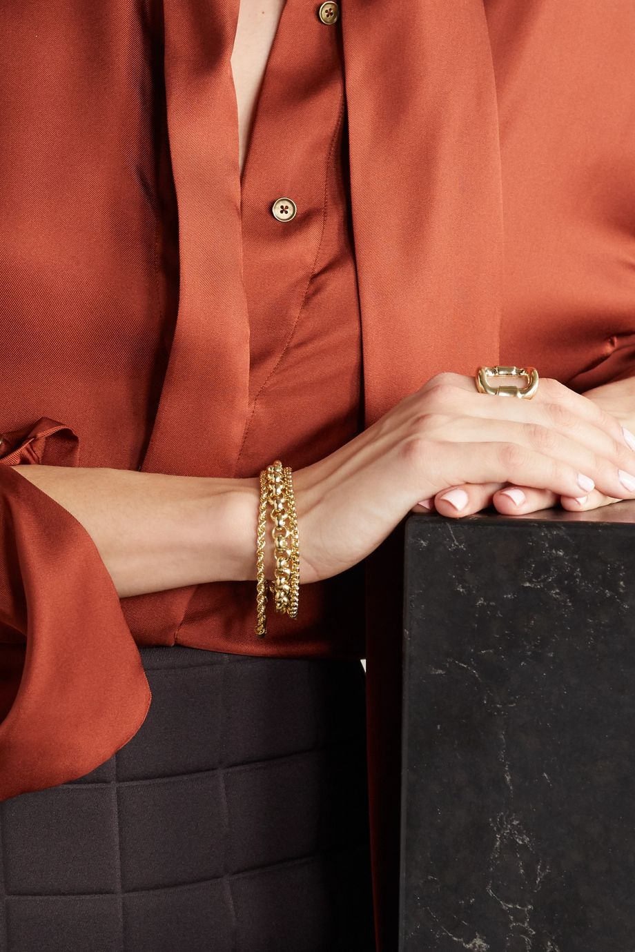Laura Lombardi Set of three gold-plated bracelets