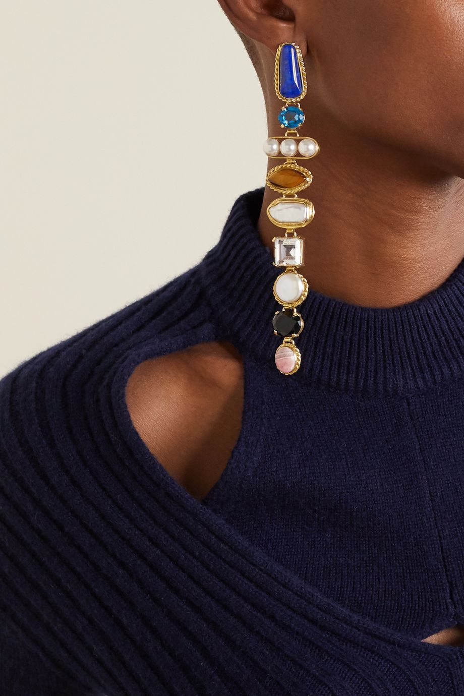 Sophie Buhai + NET SUSTAIN gold-tone multi-stone earrings
