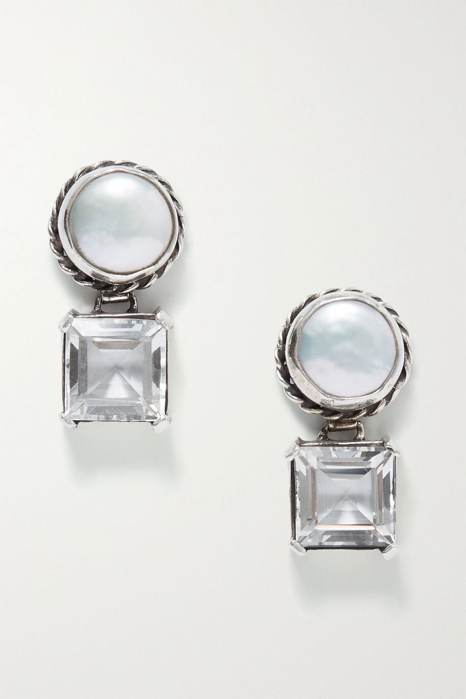 Sophie Buhai Firenze silver, pearl and crystal quartz earrings