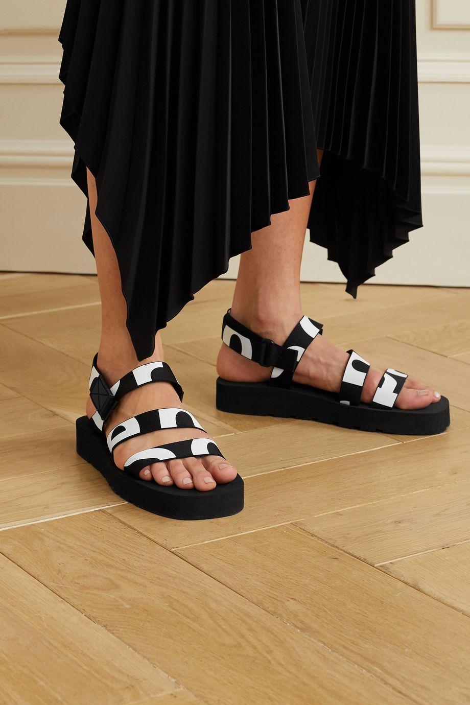 Proenza Schouler Logo-print canvas slingback sandals