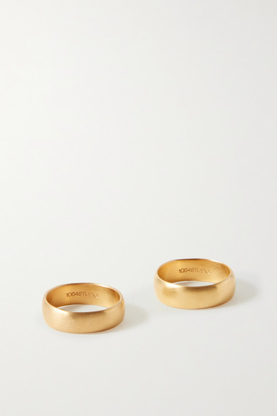 1064 Studio - Deep In Grassland Set Of Two Gold-plated Rings - 5