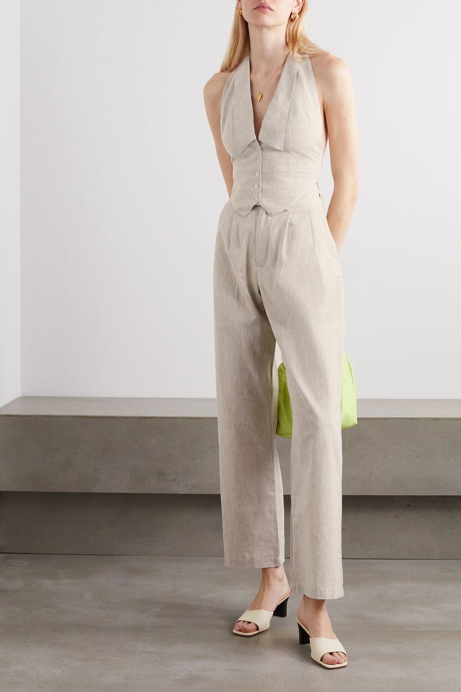The Line By K Bettina linen-blend wide-leg pants