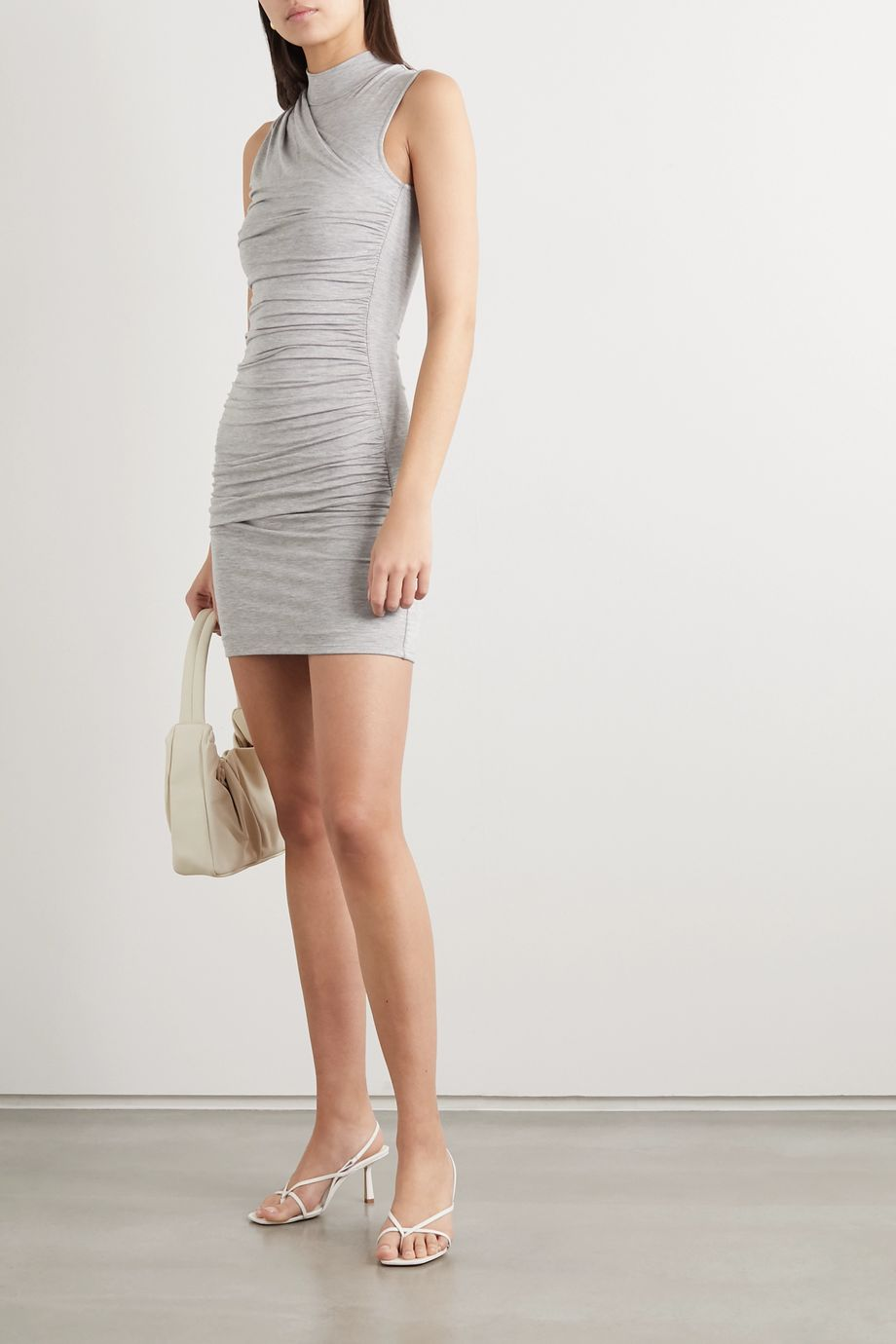 The Line By K Ayme ruched mélange stretch-jersey mini dress