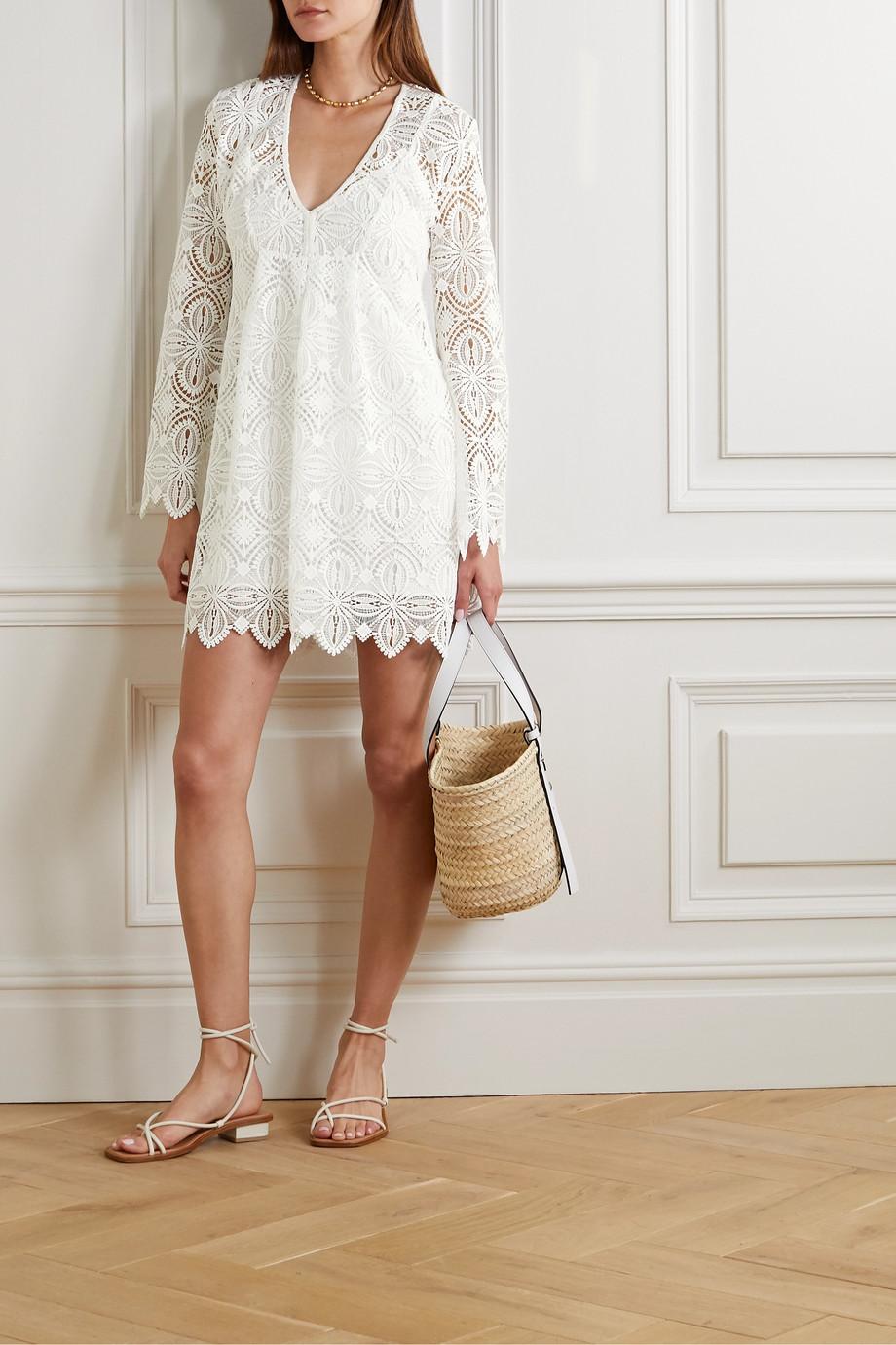 Melissa Odabash Elizabeth scalloped guipure lace mini dress