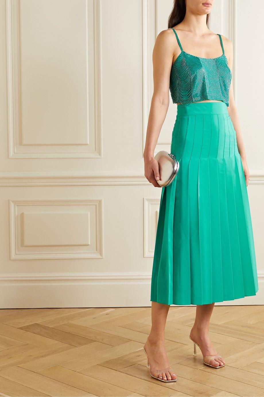 Burnett New York Pleated silk crepe de chine midi skirt