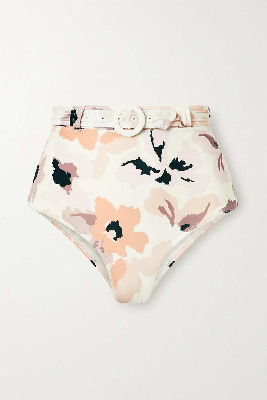 Peony Soirée belted floral-print bikini briefs